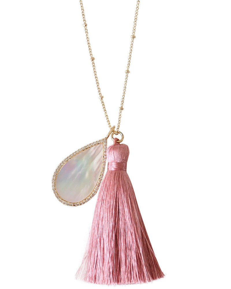 pink taseel and shell necklace