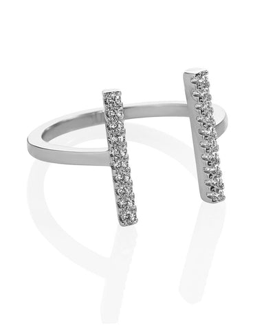 Melanie Auld Double Bar Silver Ring