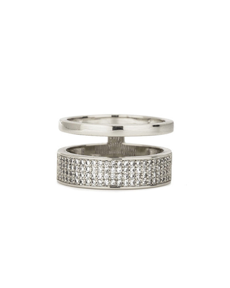 Melanie Auld Silver Two Band Pave Ring