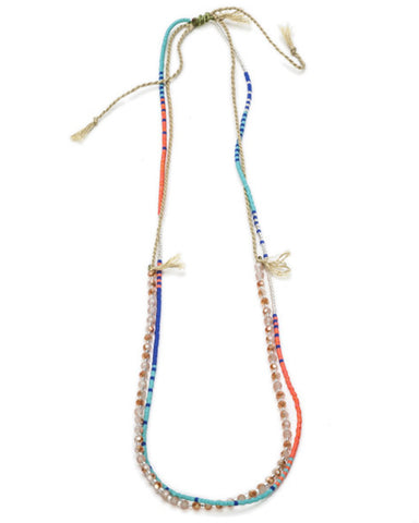 meridian avenue beaded blue and orange bing necklace