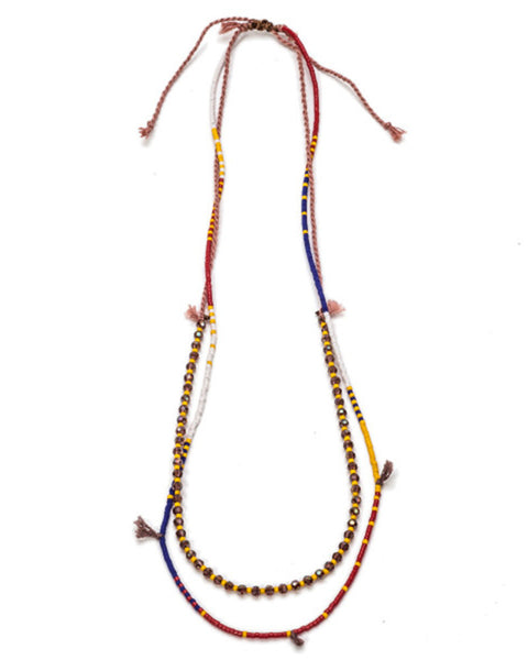 meridian ave blue red beaded necklace