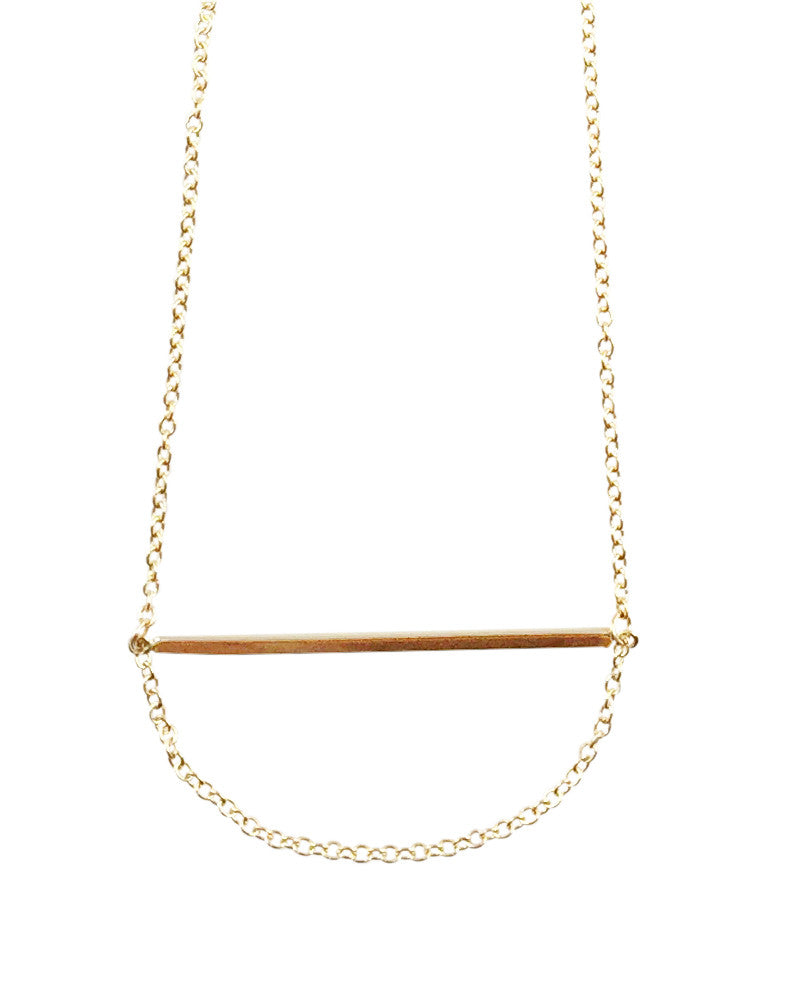 Meridian Avenue Gold Bar Chain Loop Necklace Online Jewelry Boutique