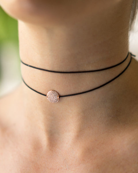 rose gold disc choker tight