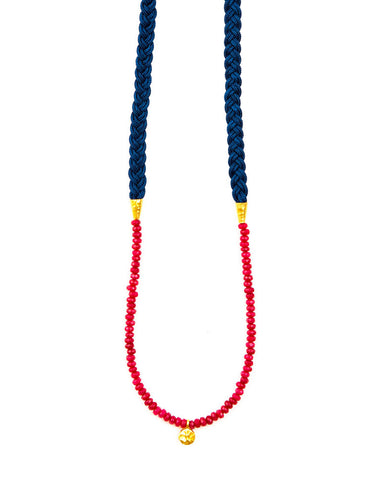Meridian Avenue Navy Blue Braid Necklace