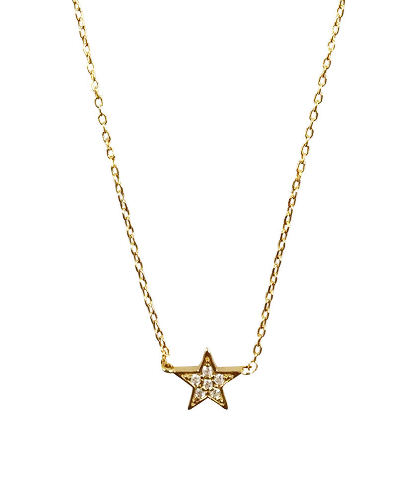Little Star Charm Pave Necklace Fashion Jewelry