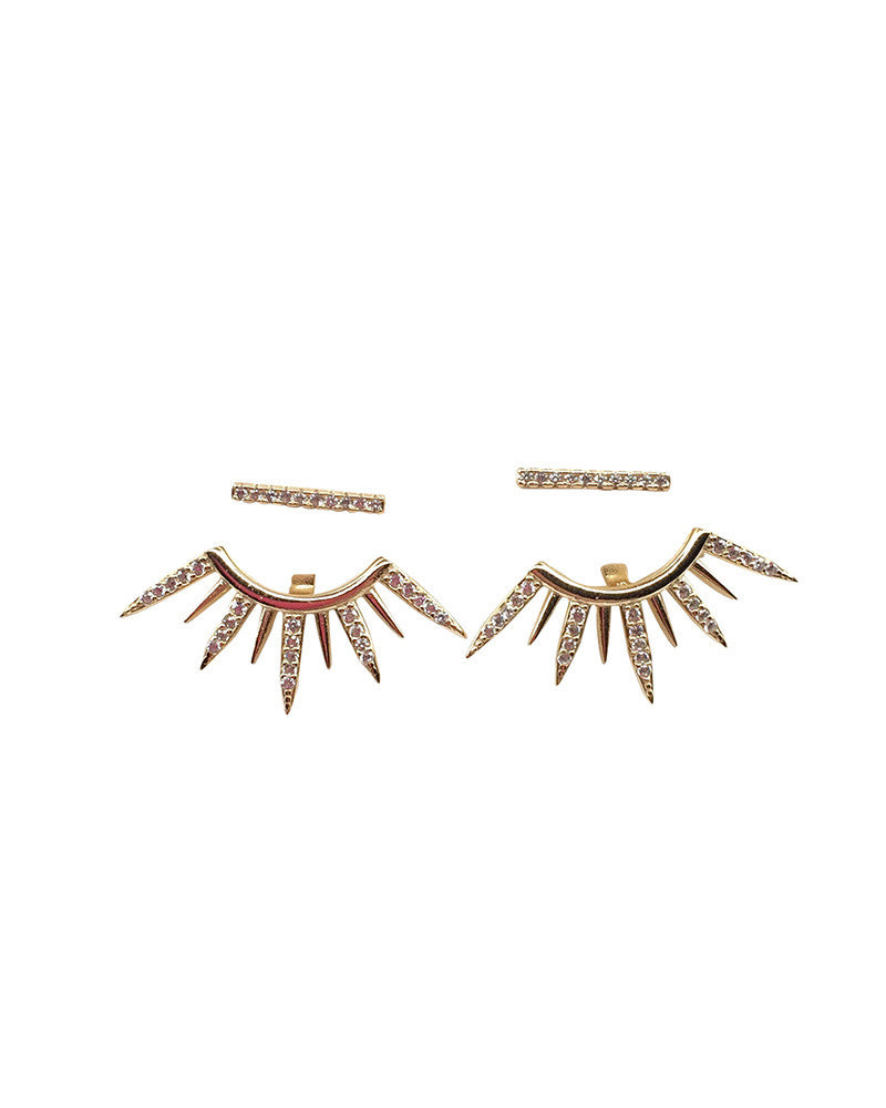 Pave Bar Spike Ear Jackets