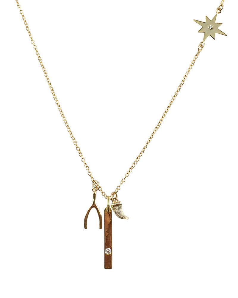 Wishbone Horn and Star Charm Necklace Gold