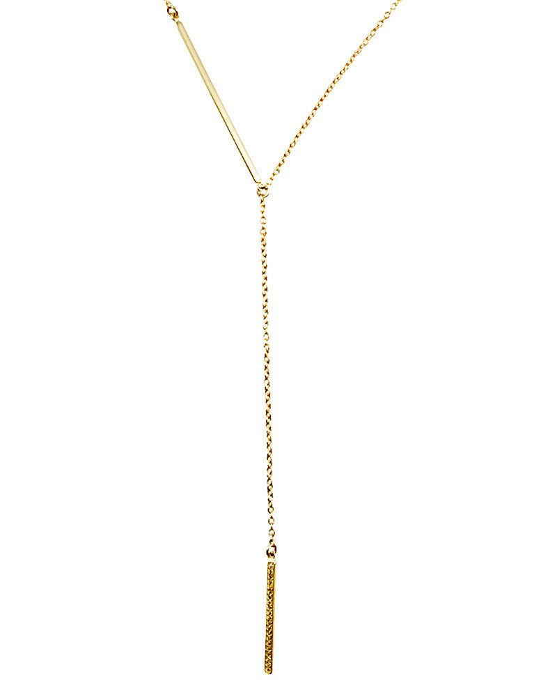 Double Gold Bar Charm Necklace
