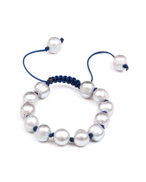 Dove Grey Pearls with Navy Bracelet