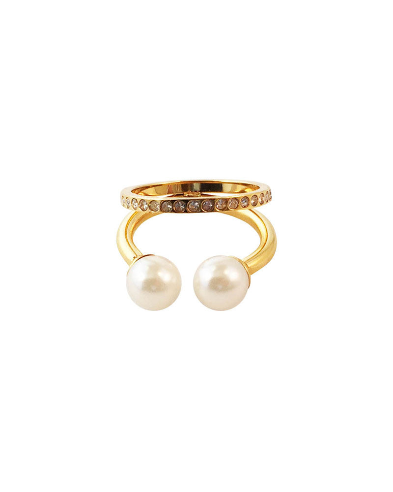 Meridian Avenue Double Pearl Pave Ring