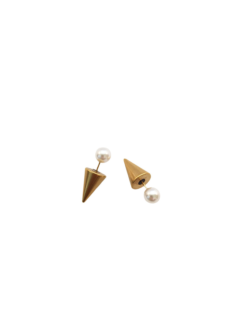 Meridian Avenue Pearl And Gold Spike Earrings