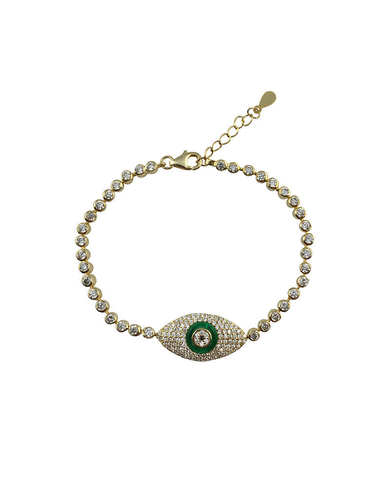 Gold Evil Eye and Green Accent CZ bracelet