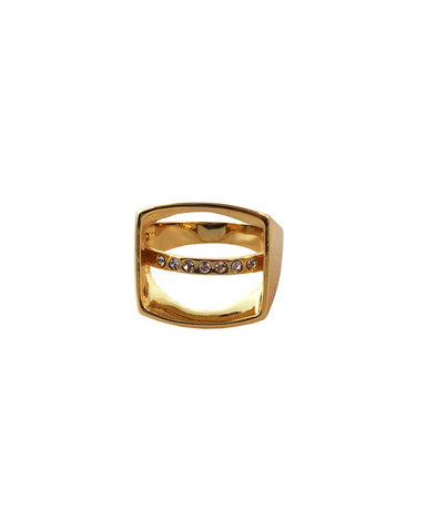 Meridian Avenue Open Square Ring Gold