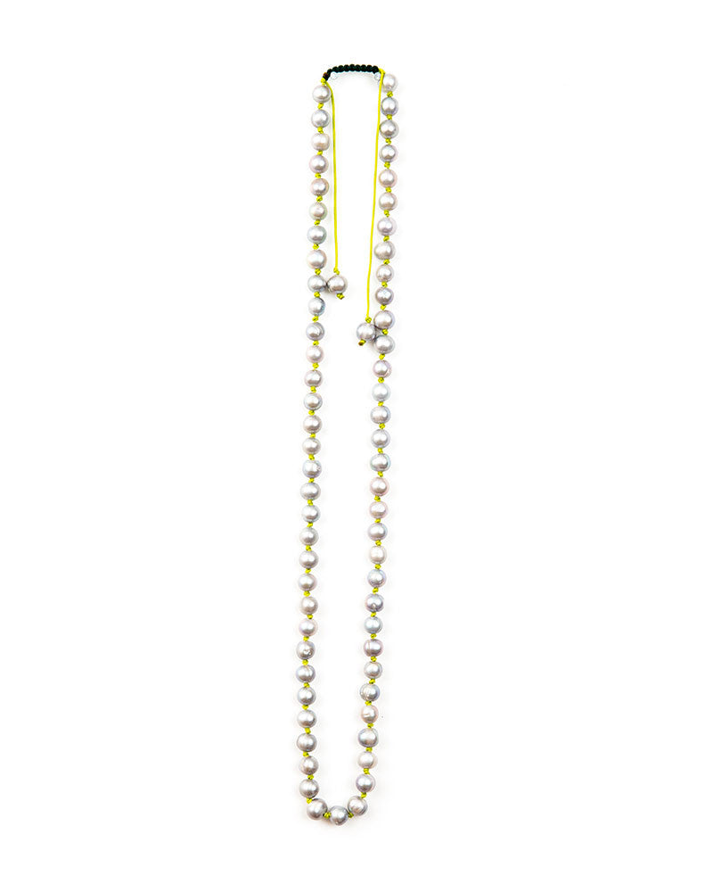 Meridian Avenue Dove Grey Pearl Handmade Necklace Neon Green