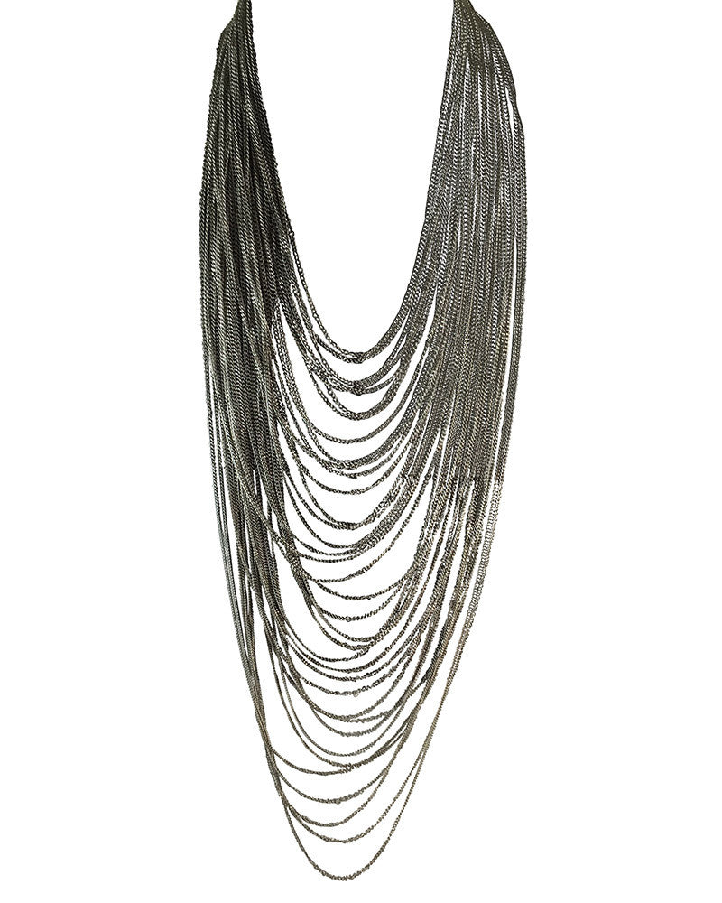 Long Layered Silver Chains Necklace