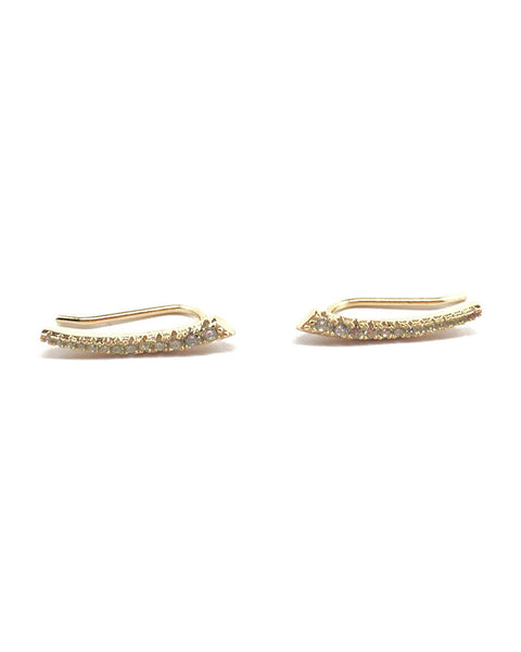 Gold Pave Point Ear Climbers