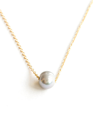 Meridian Avenue Single Dove Grey Pearl Necklace
