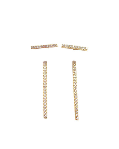 Double Pave Bar Stud Earrings