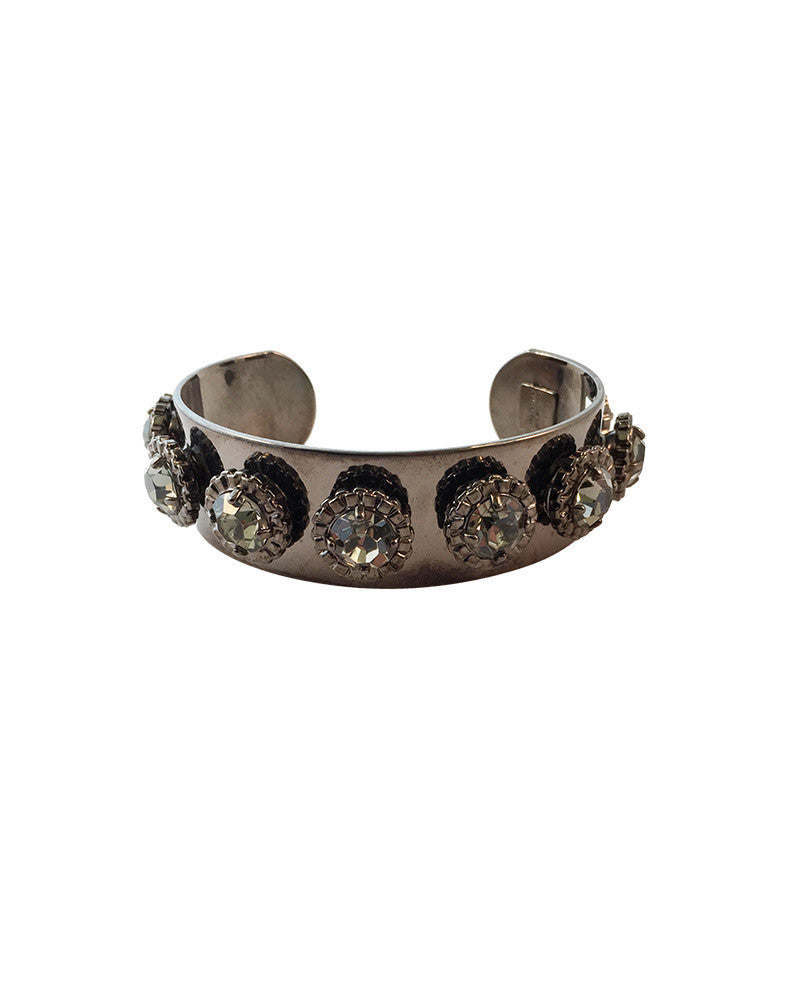 Courtney Lee Gunmetal Cuff Swarovski Black Crystals