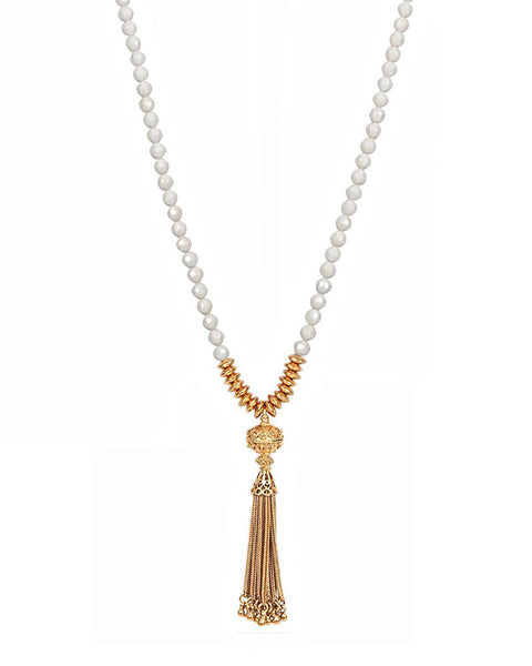 Mother of Pearl Gold Tassel Necklace Jaimie Nicole