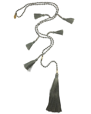 Gray Multi-Tasseled Zacasha Necklace