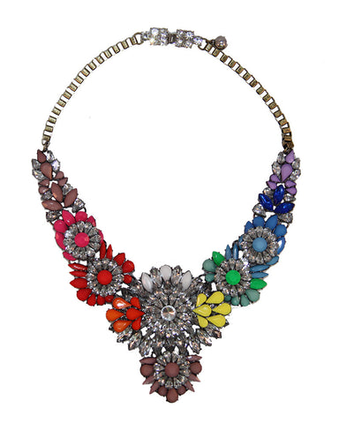 Neon Multi Colored Flower Statement Necklace