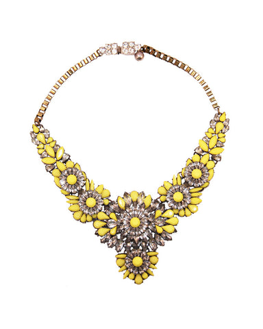 Neon Yellow Flower Statement Necklace
