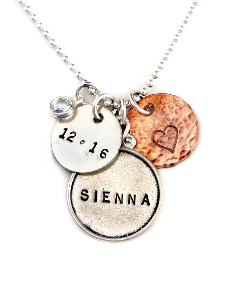 personalized new mom necklace with charms