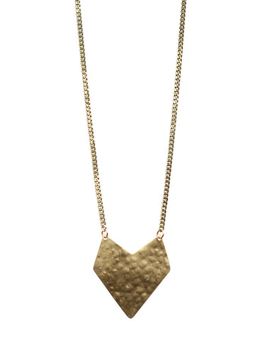 One Oak Jewelry Hammered Brass Necklace Caterina