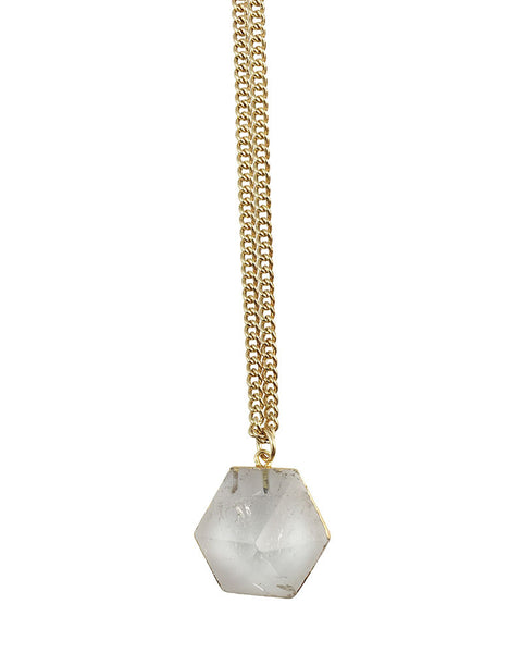 One Oak Quartz Pendant Necklace Gold