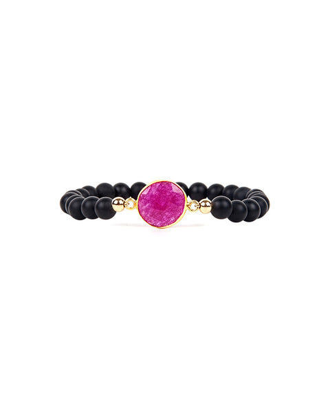 Jaimie Nicole Onyx and Dyed Ruby Beaded Bracelet