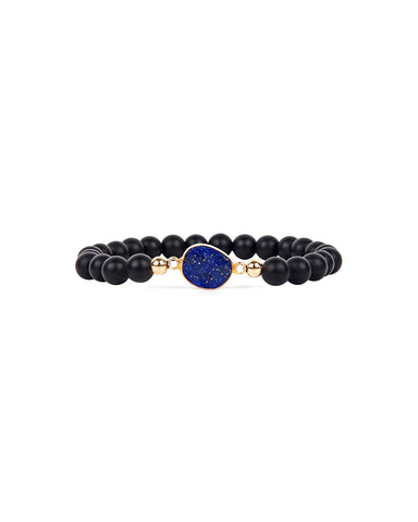 Jaimie Nicole Onyx and Lapis Beaded Bracelet