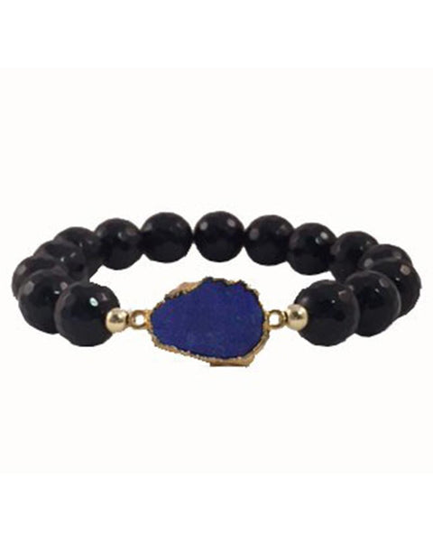 Blue Agate Onyx beaded bracelet