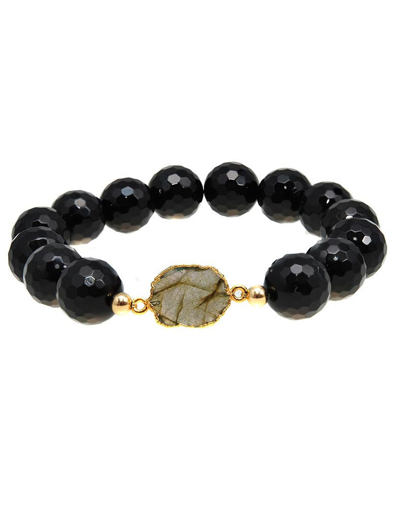 Labradorite and black onyx beaded bracelet