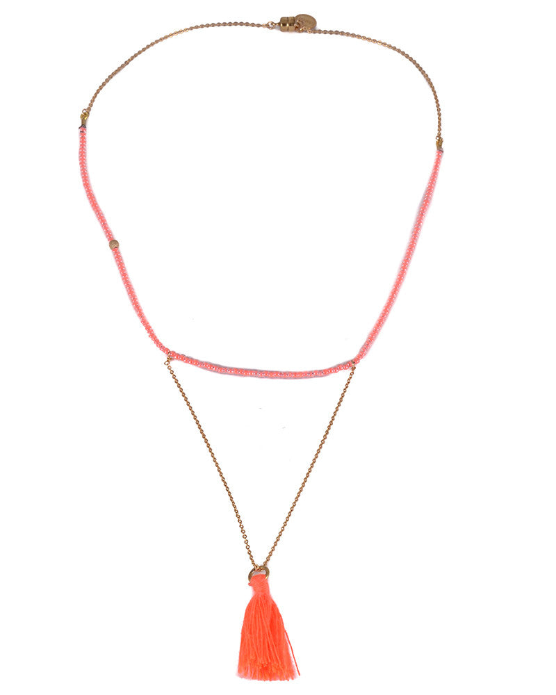 Dafne Coral Pom-Pom Necklace