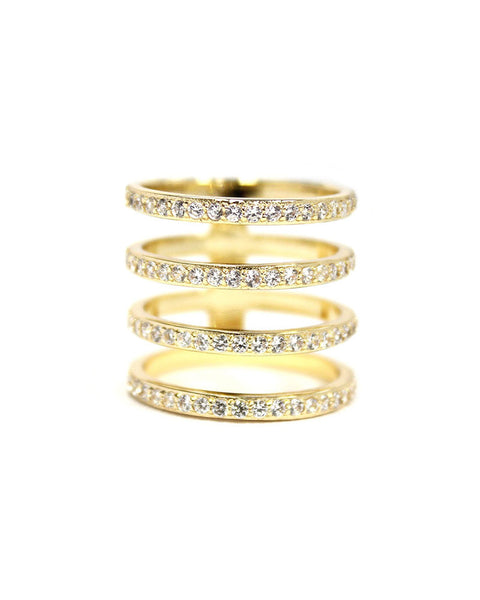 Melanie Auld Pave 4 Tier Ring Gold