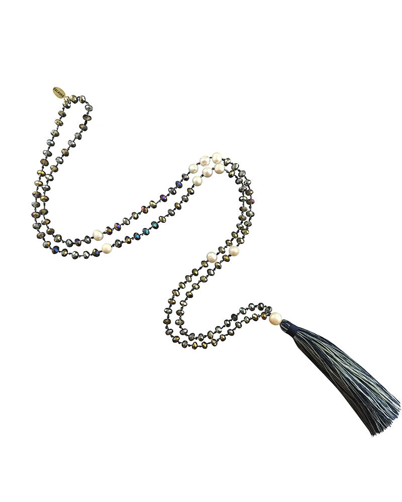 silver beaded navy tassel zacasha necklace