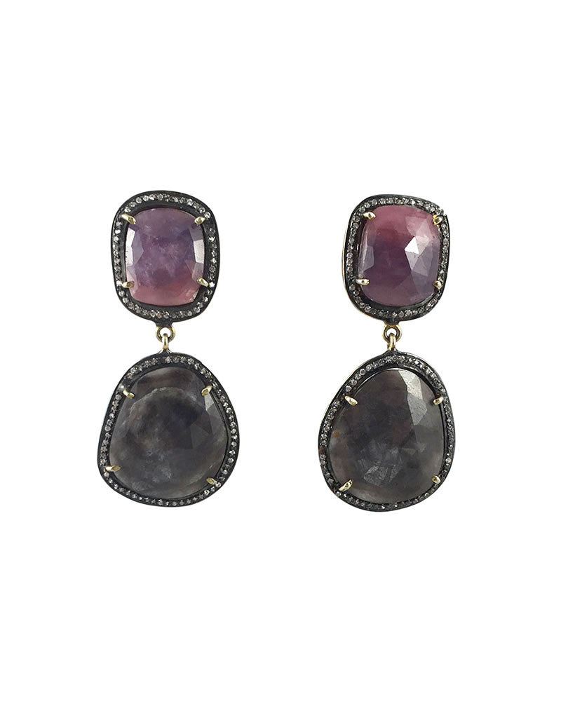 pink pave sapphire earrings