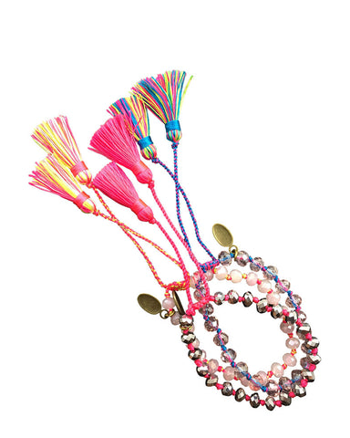 Pink and Blue Zacasha Tassel Bracelets