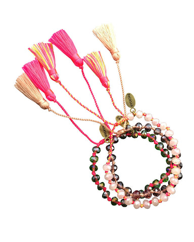 Pinks Tassel Bracelet Sets