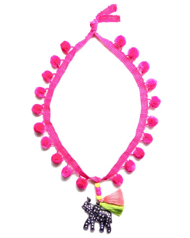 Little Lux Tantor Elephant Pom Pom Necklace Pink