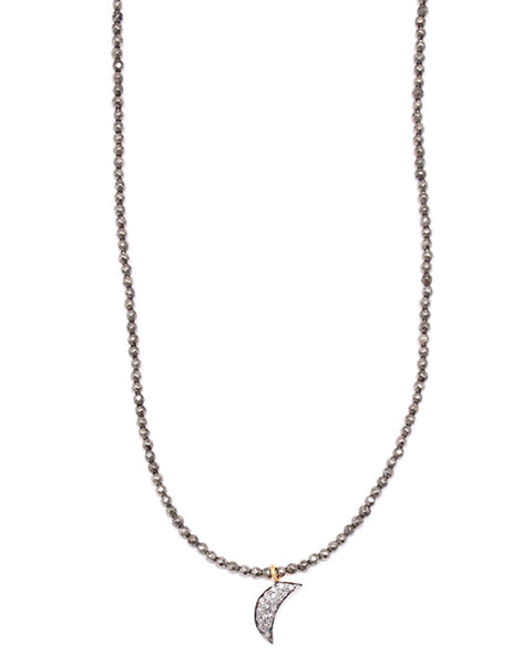 Gold and gray mini pave moon necklace