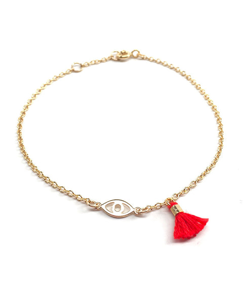 Red Tassel and Gold Evil Eye Bracelet