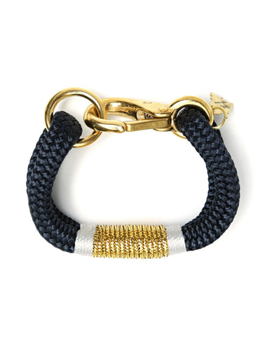 the ropes maine yacht braid bracelet navy gold white