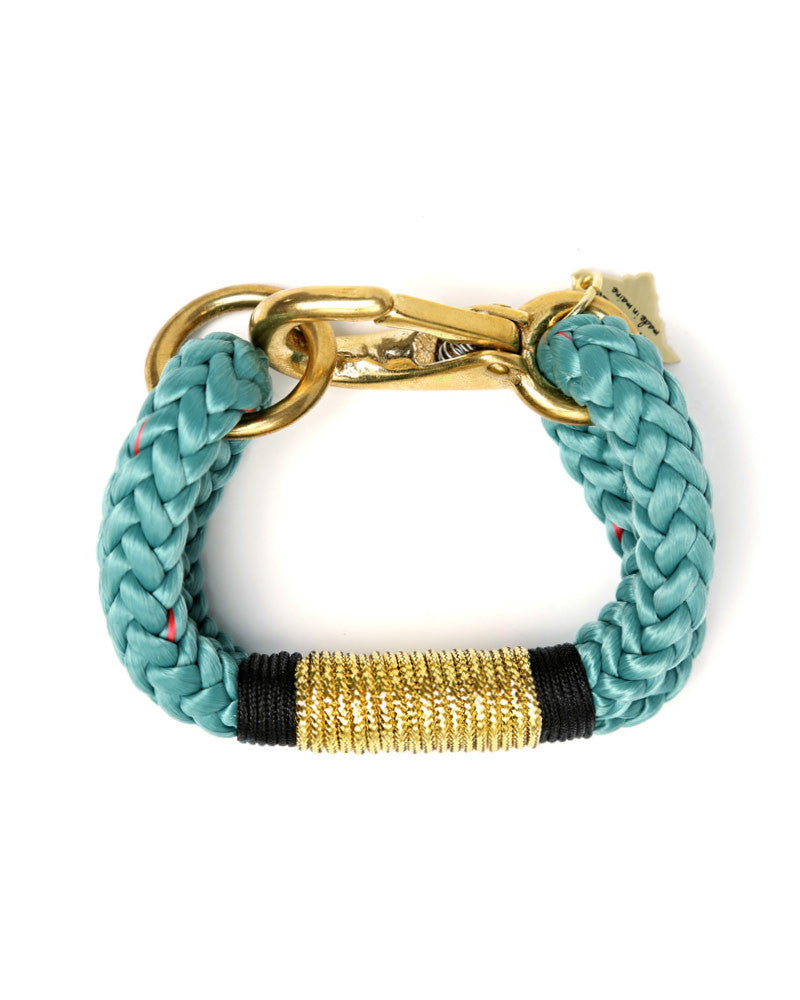 the ropes maine teal black and gold bracelet