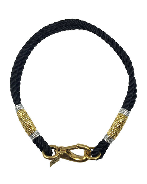 maine ropes necklace nautical black and gold