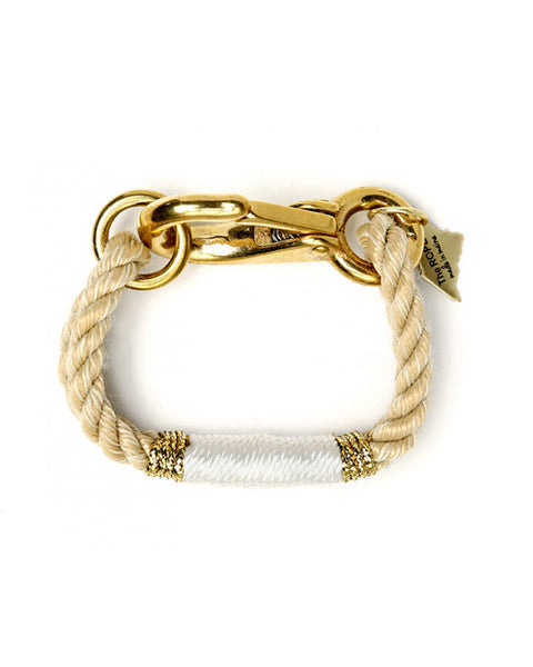 The ropes maine white and gold rope bracelet