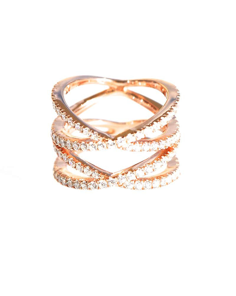 Criss Crose Pave Rose Gold Ring Sophie from Gina Cueto