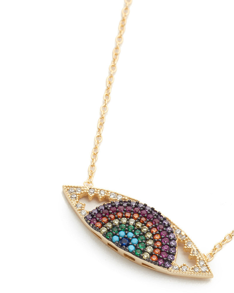 shashi rainbow evil eye necklace