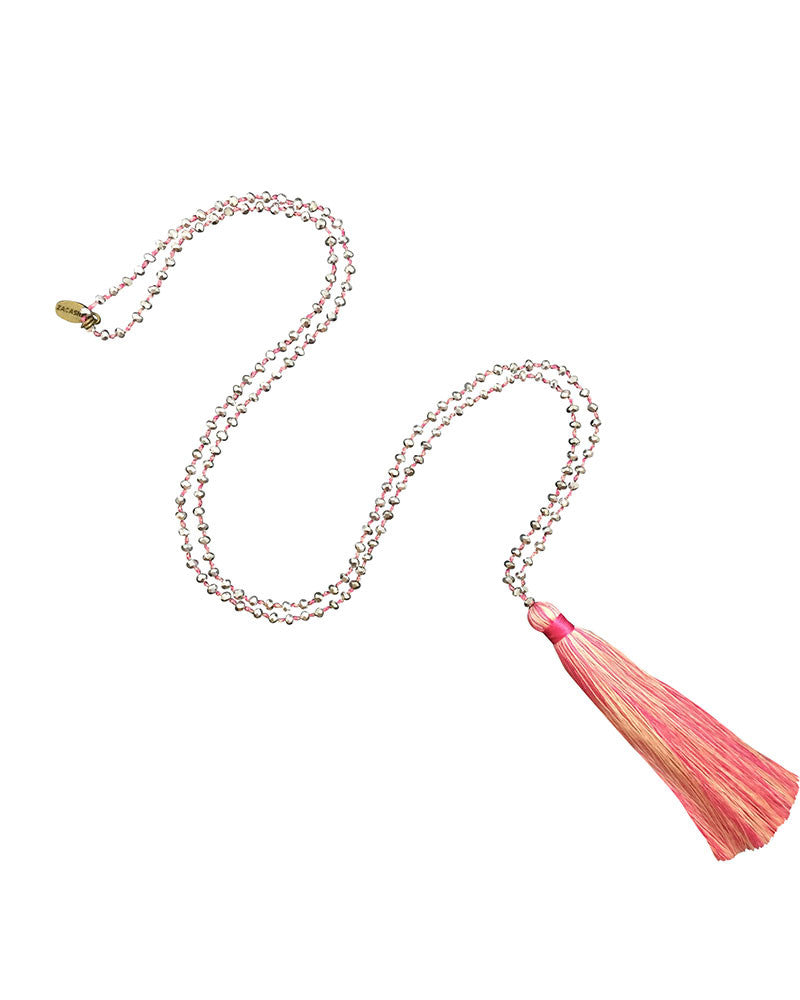 Zacasha Tassel Necklace Silver and Pink